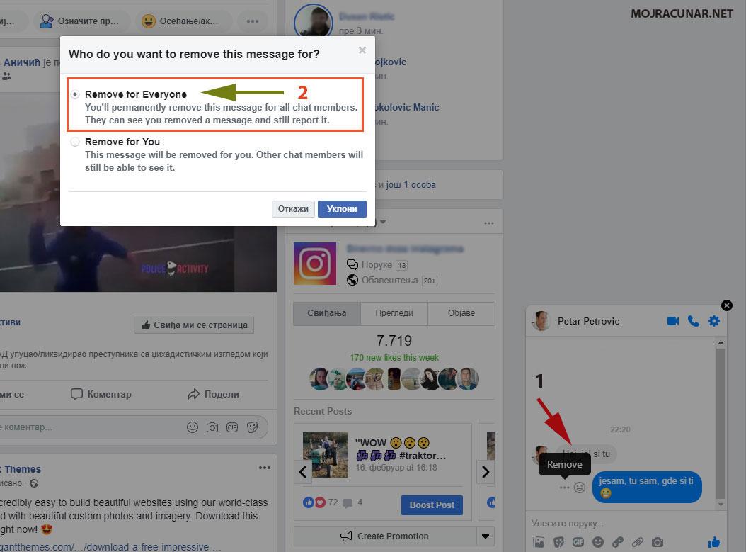Kako obrisati poslatu poruku na Facebook-u